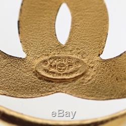 Authentic CHANEL Brooch CC Vintage Gold A1973