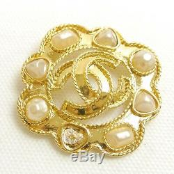 Authentic CHANEL Brooch Coco Mark Vintage Gold Metallic #9668