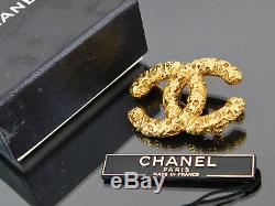 Authentic CHANEL CC Goldtone Pin Brooch 93A +Box