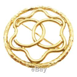Authentic CHANEL CC LOGO Brooch Gold Tone #S201011