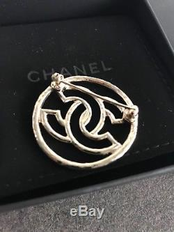 Authentic CHANEL CC Logo Brooch Pin Like New in box