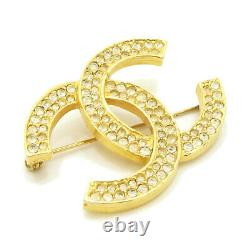 Authentic CHANEL CC Logo Pin Brooch Gold Tone 174 Metallic #S408119