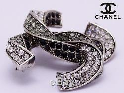Authentic CHANEL CC Logos Silver Black & White Crystal Pin Brooch Made in Italy