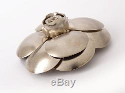 Authentic CHANEL Camellia Metal Corsage Brooch Metallic