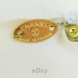 Authentic CHANEL Camellia Pin Brooch White Canvas France Accessories 03SA048