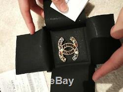 Authentic CHANEL Classic CC Brooch Cambon with Harrods Gift Receipt
