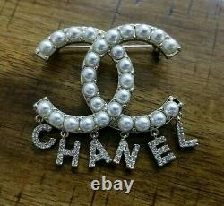 Authentic CHANEL Classic Large Crystal Rhinestone Letter Drop Brooch Pin