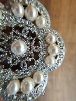 Authentic CHANEL Classic Large Crystal Rhinestone Pearl Logo Silver Brooch Pin