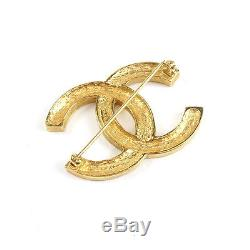 Authentic CHANEL Coco Mark Gem Stone Rhine Stone Brooch Gold Used F/S