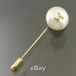Authentic CHANEL Pin Brooch CC Logo Faux Pearl Gold Metallic #f06483