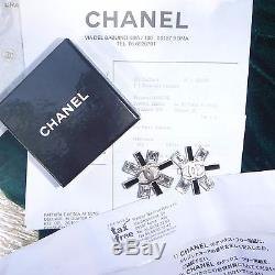 Authentic CHANEL Sweater Pin/Brooch Silver Metal Simulated Diamond