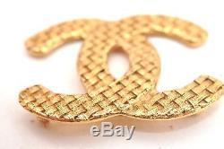 Authentic CHANEL Vintage CC Logo Pin Brooch Gold Plating Box 60214