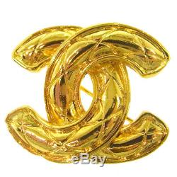 Authentic CHANEL Vintage CC Logos Brooch Pin Corsage Gold-Tone AK19481