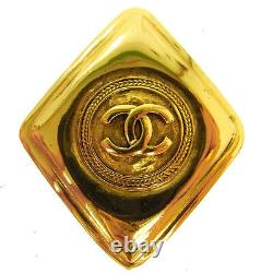Authentic CHANEL Vintage CC Logos Brooch Pin Corsage Gold-Tone France AK16561h