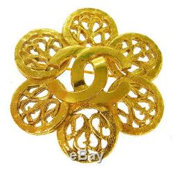 Authentic CHANEL Vintage CC Logos Brooch Pin Gold-Tone Corsage T04430