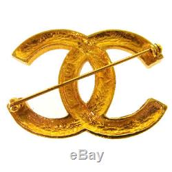 Authentic CHANEL Vintage CC Logos Rhinestone Brooch Pin Gold Corsage NR12051a