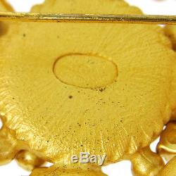 Authentic CHANEL Vintage CC Logos Stone Brooch Pin Gold Corsage V14845