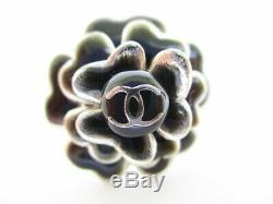 Authentic CHANEL Vintage Camellia Motif CC Logo Pin Brooch #7349