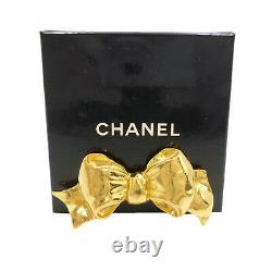 Authentic CHANEL Vintage Ribbon Motif Gold Tone Brooch Brass #S206020