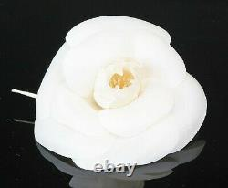 Authentic CHANEL White Fabric Camellia Flower Design Brooch Pin #37291