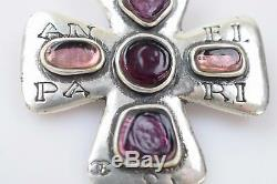 Authentic Chanel Brooch Pin Vintage Cross Cambon Silver X Purple 368467