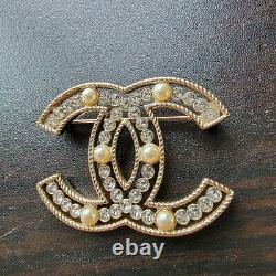 Authentic Chanel CC Crystal Brooch