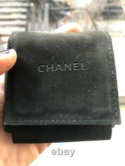Authentic Chanel CC Logo Interlaced Leather Brooch Pin