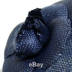 Authentic Chanel Camellia Navy Corsage Brooch Vintage Made France in Box