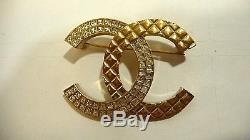 Authentic Chanel Classic Crystal Gold Tone Metal CC Logo Brooch Pin