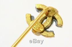 Authentic Chanel Coco Mark Pin Brooch Gold Plated France 2.2 g