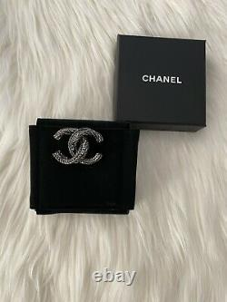 Authentic Chanel Crystal Brooch In Gunmetal