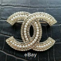 Authentic Chanel Crystal CC Brooch