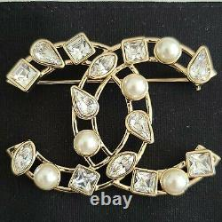 Authentic Chanel Crystal Pearl CC Brooch