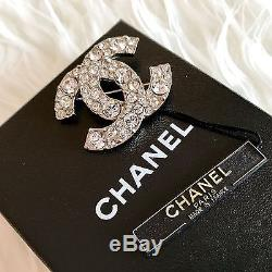 Authentic Chanel Crystal Silver Brooch Made in France + Box