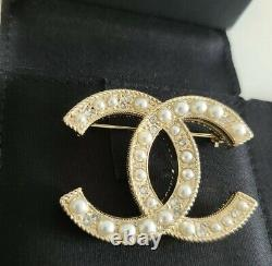 Authentic Chanel Crystal and pearl brooch
