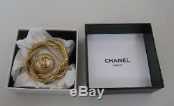 Authentic Chanel Gold And Pearl CC Brooch With Its Box