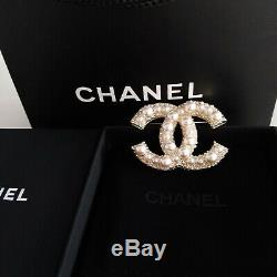 Authentic Chanel Large CC Logo Anniversary White Pearl Brooch 18k Gold Pin New