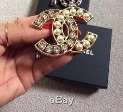 Authentic Chanel Large Cc Style Pearl Brooch
