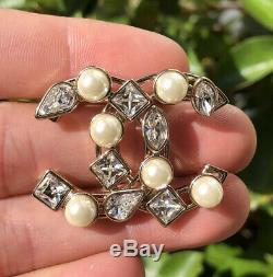 Authentic Chanel Pearl & Crystal CC Logo Brooch Pin Smaller Size With Box B19K
