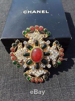 Authentic Chanel Vintage Multicolor Jeweled Cross Brooch Pin MPRS