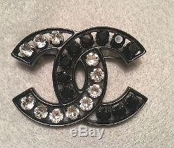 Authentic Chanel XL Black and Transparent Crystal Brooch