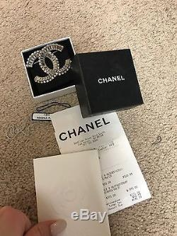 Authentic Chanel brooch Classic CC Logo Crystal