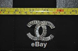 Authentic New Womens CHANEL Silver CC Logo Swarovski Crystal Iconic Pin Brooch