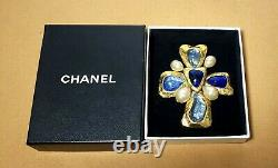 Authentic Vintage 94 P CHANEL Cross Gripoix Pin / Brooch Pendant head & Gift Box