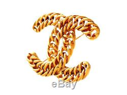 Authentic Vintage Chanel pin brooch Chain CC logo double C #pi2015