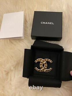 BNIB Authentic Chanel Brooch Light Gold Hardwear With Golden Brown Crystals