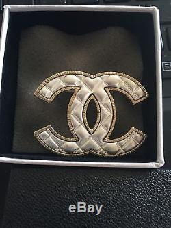 CC Logo Gold Pearl Quilted Brooch