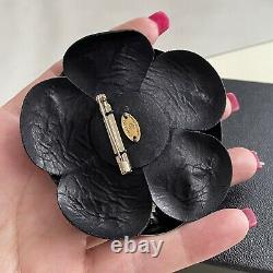 CHANEL 100% Authentic 800$ Camellia Leather Brooch Black