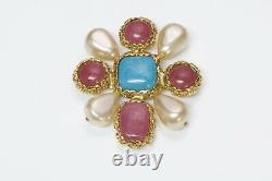 CHANEL 1980s Blue Pink Gripoix Glass Pearl Brooch