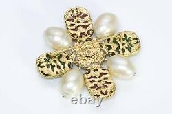 CHANEL 1980s Byzantine Style Gripoix Green Red Glass Pearl Brooch